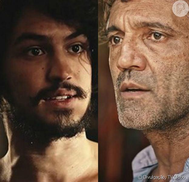 Santo (Domingos Montagner) e Miguel (Gabriel Leone) se tornam parceiros em um projeto de agronomia sustentável, em junho de 2016, na novela 'Velho Chico'