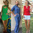 Entre os figurinos mais usados pela apresentadora Ticiane Pinheiro estão as calças flaire em diferentes materiais. Ela também não abre mão de vestidos que valorizam o corpo