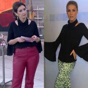 Fátima Bernardes repete blusa Alphorria de R$ 550 usada por Ana Hickmann. Foto!