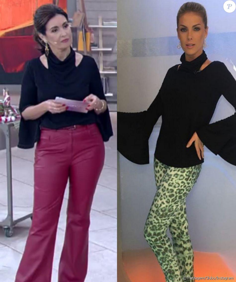 As apresentadoras Fatima Bernardes e Ana Hickmann usaram a mesma blusa no 'Encontro' e no 'Hoje em Dia'