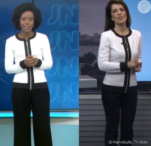 Mariana Gross e Maria Júlia Coutinho repetiram o mesmo casaco jacquard nesta segunda-feira, 20 de junho de 2016. As jornalistas só diferenciaram o look com a calça: enquanto a apresentadora do 'RJTV' escolheu uma comum, a moça do tempo do 'Jornal Nacional' optou por um modelo boca de sino
