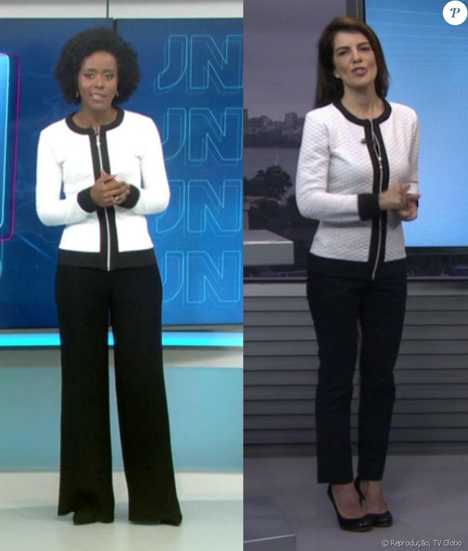 8e6851b877 Mariana Gross e Maria Júlia Coutinho repetiram o mesmo casaco jacquard  nesta segunda-feira
