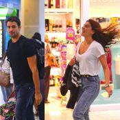 Mariana Goldfarb corre para alcançar o namorado, Cauã Reymond, em aeroporto