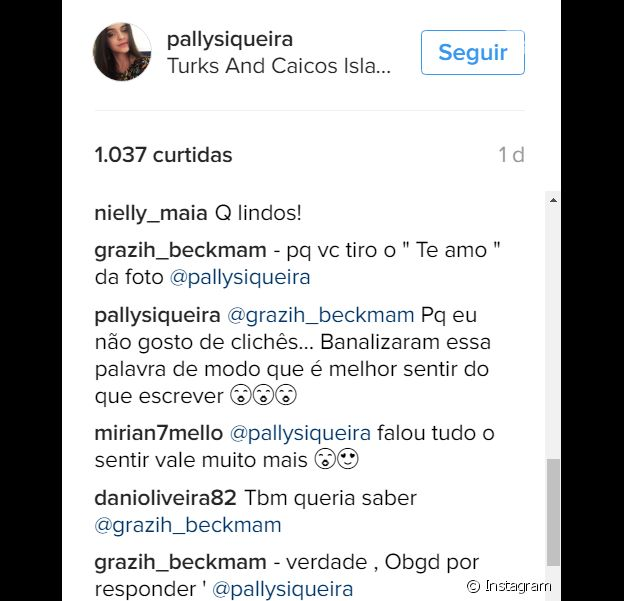 Pally Siqueira explica para uma seguidora o motivo de ter deletado a legenda para Fabio Assunção