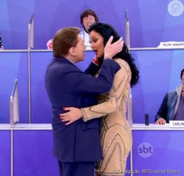 Silvio Santos brinca sobre flerte com Hellen Ganzarolli nesta sexta-feira, dia 01 de janeiro de 2016