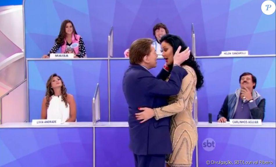 49f449f18f6b5 Silvio Santos brinca sobre flerte com Hellen Ganzarolli nesta sexta-feira,  dia 01 de