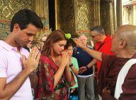 Marina Ruy Barbosa e namorado, Xandinho Negrão, recebem benção em templo budista