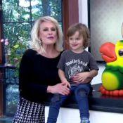 Ana Maria Braga recebe o neto Bento no 'Mais Você' e brinca: 'Pesado demais'