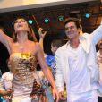 Sabrina Sato e André Gonçalves dançam no ensaio da Unidos de Vila Isabel, em 12 de janeiro de 2013