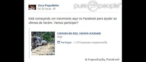 Zeca Pagodinho pede ajuda para as vítimas da chuva no Facebook