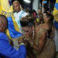 Ana Paula Evangelista, musa da Unidos da Tijuca, foi ao ensaio da agremiação e mostrou muito samba no pé