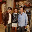 Bruna Marquezine com Gabriel Braga Nunes e Guilherme Leicam, que interpretam Laerte na segunda e terceira fases de 'Em Família'