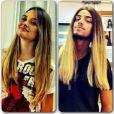 Rodrigo Simas brinca e faz pose com uma peruca bem parecida com os cabelos de Juliana Paiva, em 11 de janeiro de 2013