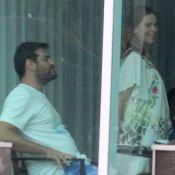 Grávida de 7 meses, Vanessa Lóes toma café da manhã com Thiago Lacerda no RJ