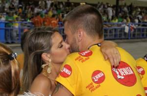 Carnaval: Fernanda Lima troca carícias com Rodrigo Hilbert em camarote, no Rio