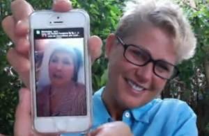 Xuxa mostra sua mãe, Dona Alda, cantando 'Parabéns' em chat com fãs