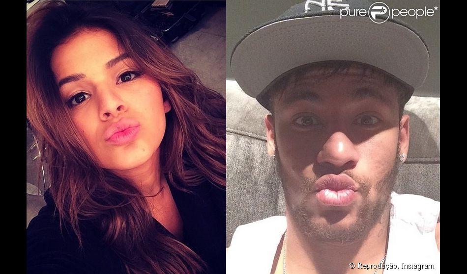Bruna Marquezine e Neymar se inspiraram no dia do beijo, comemorado neste domingo, 13 de abril de 2014, para mandar beijos em suas contas no Instagram
