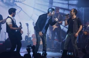 Gusttavo Lima faz show com Zezé Di Camargo e Luciano e ganha beijo da noiva