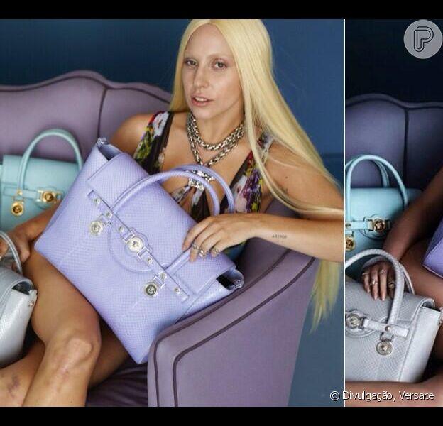 Lady Gaga aparece sem maquiagem e com hematomas em fotos não tratadas da campanha da Versace, em 16 de abril de 2014