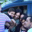Regina Duarte esteve na Perinatal da Barra da Tijuca, Zona Oeste do Rio de Janeiro, neste domingo, 27 de abril de 2014, para visitar o neto, João Gabriel, fruto do casamento do filho da atriz, João Gomes, com Regiane Alves