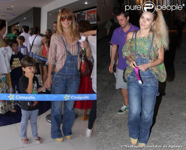 O macacão jeans é uma das peças mais aproveitadas por Carolina Dieckmann. A atriz, que já declarou gostar de se vestir confortavelmente, usou a roupa para levar o filho ao cinema e para passear com o marido. Repare que o sapatinho também é o mesmo!