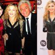 Madonna usa o mesmo vestido preto para prestigiar dois eventos diferentes: inauguração da academia Hard Candy, em Moscou, e a festa de Réveillon na casa do estilista da grife Valentino, Giancarlo Giammetti