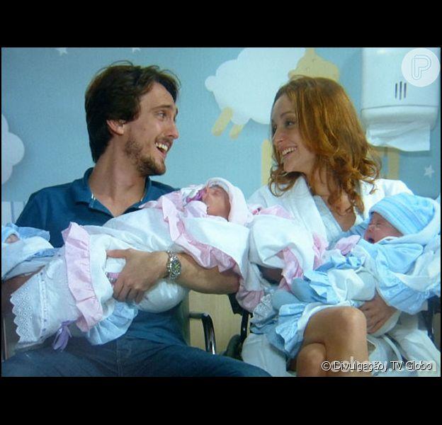 Marcelo (Igor Angelkorte) e Priscila (Laila Zaid) se tornam pais de quadrigêmeos no último capítulo de 'Além do Horizonte', em 2 de maio de 2014