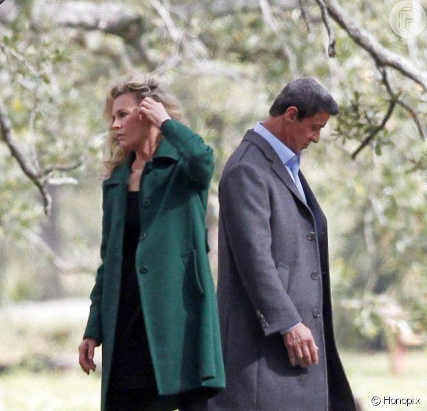 Sylvester Stallone roda cena do filme 'Grudge Match' com Kim Basinger em Nova Orleans, nos EUA, em 28 de janeiro de 2013