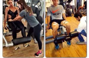 Namorado de Danielle Winits mostra o casal malhando pesado em academia