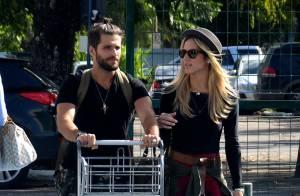 Bruno Gagliasso e Giovanna Ewbank embarcam com looks estilosos, no Rio
