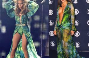 Jennifer Lopez usa o mesmo look Versace de 14 anos atrás em show