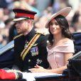Príncipe Harry e Meghan Markle prestigiaram a tradicional parada militar 'Trooping The Colour', realizada em Londres, na Inglaterra, na manhã deste sábado, 9 de junho de 2018