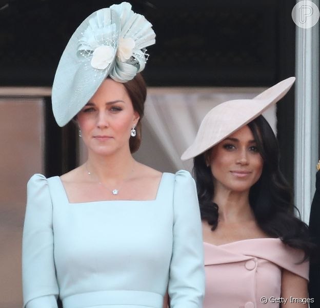 Kate Middleton e Meghan Markle prestigiaram a tradicional parada militar 'Trooping The Colour', realizada em Londres, na Inglaterra, na manhã deste sábado, 9 de junho de 2018
