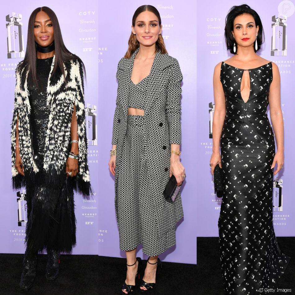Naomi Campbell, Olivia Palermo e Morena Baccarin exibiram looks em preto e branco no 2018 Fragrance Foundation Awards. Veja todas as produções!
