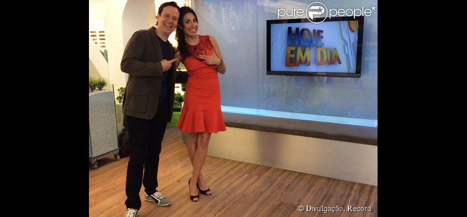 Giselle Itiê apresenta programa 'Hoje em Dia' ao lado de Celso Zucatelli