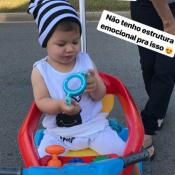 Filho de Andressa Suita, Gabriel usa touca listrada em passeio: 'Sem estruturas'