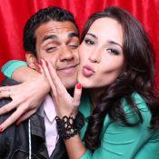 Marcello Melo Jr. posa com a namorada em cabine do 'Domingão do Faustão'