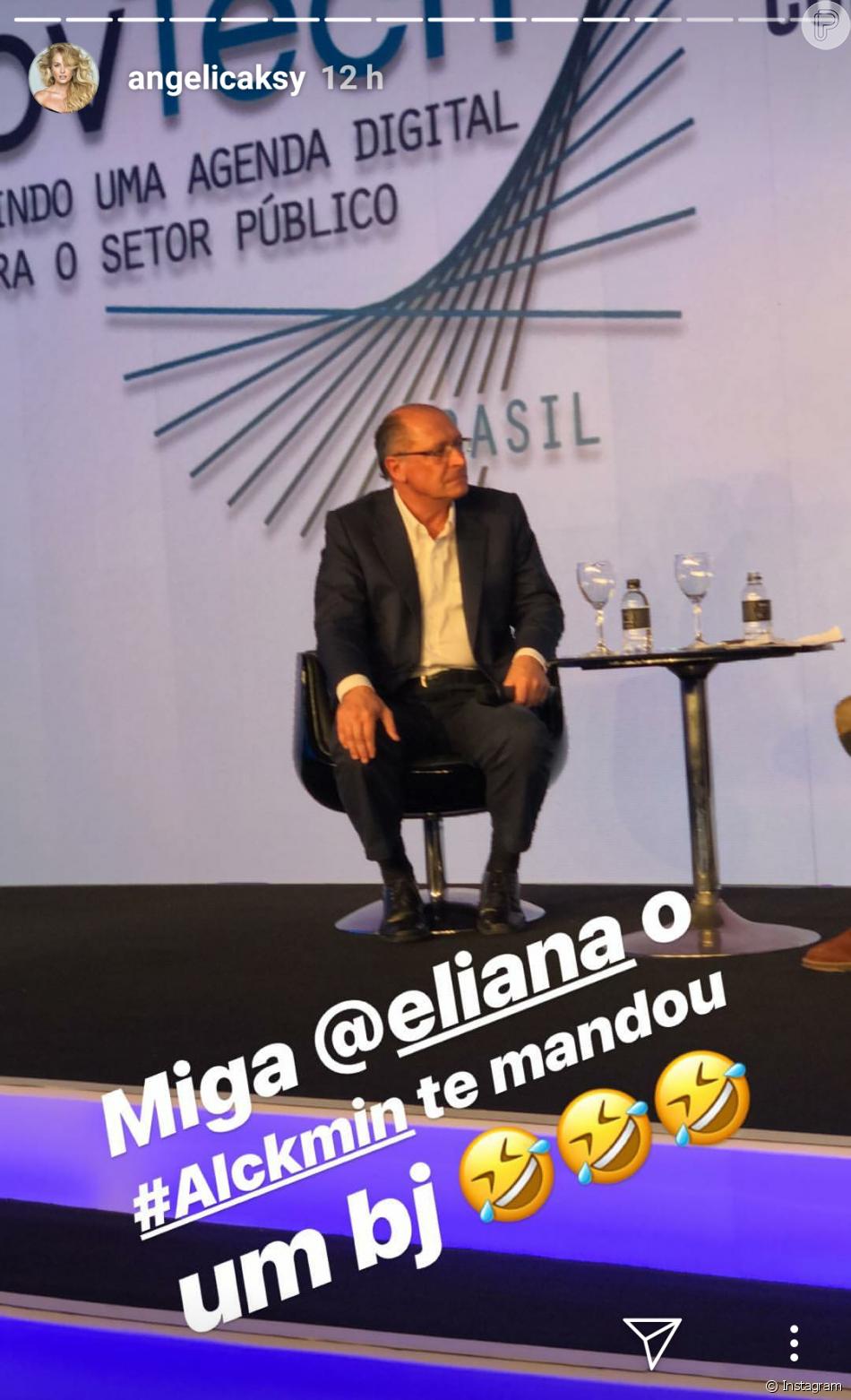Angélica entrou na brincadeira e fez piada com a gafe no Stories: 'Miga Eliana, Alckmin te mandou um beijo'