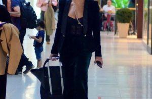 Juliana Paes combina terninho de veludo Dolce & Gabbana com óculos retrô em look