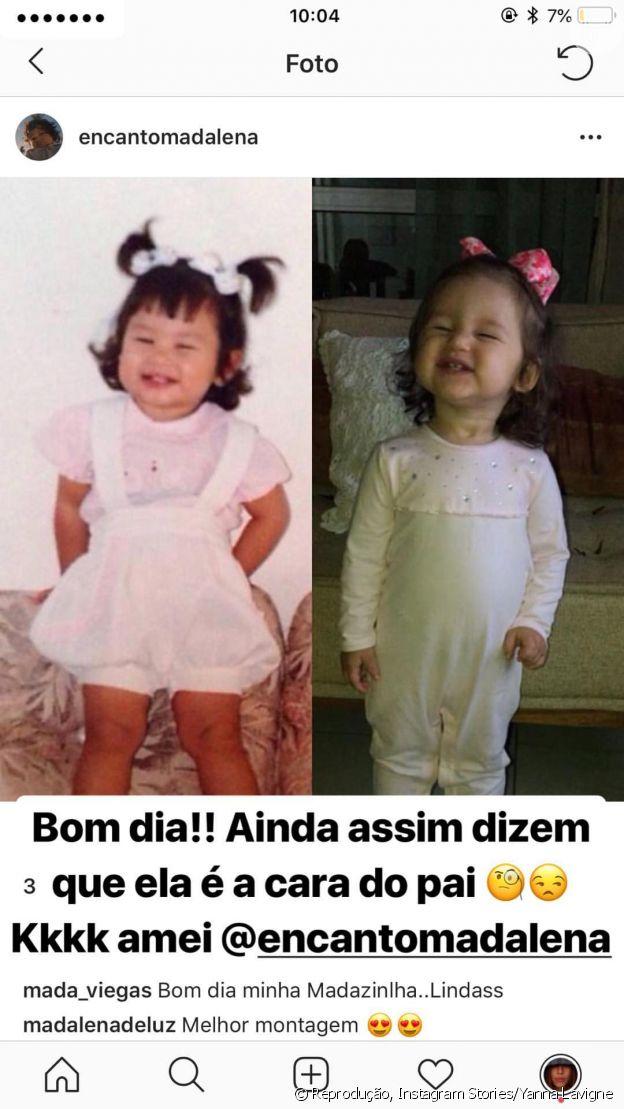 Yanna Lavigne compara foto sua na infância com filha, Madalena