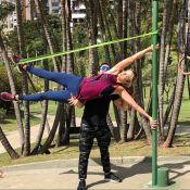 Ticiane Pinheiro pratica calistenia e exibe foto: 'Usando apenas peso do corpo'