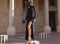 Gola alta, fenda e salto escultural: o look de Marquezine na Paris Fashion Week