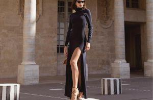 Gola alta, fenda e salto escultural: o look de Marquezine na Paris Fashion Week
