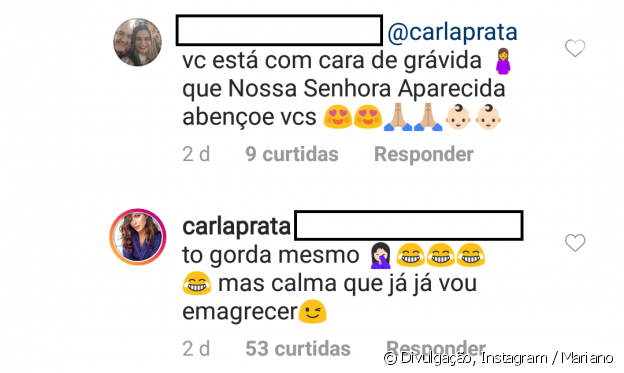 Carla Prata negou que esteja grávida do namorado, o sertanejo Mariano