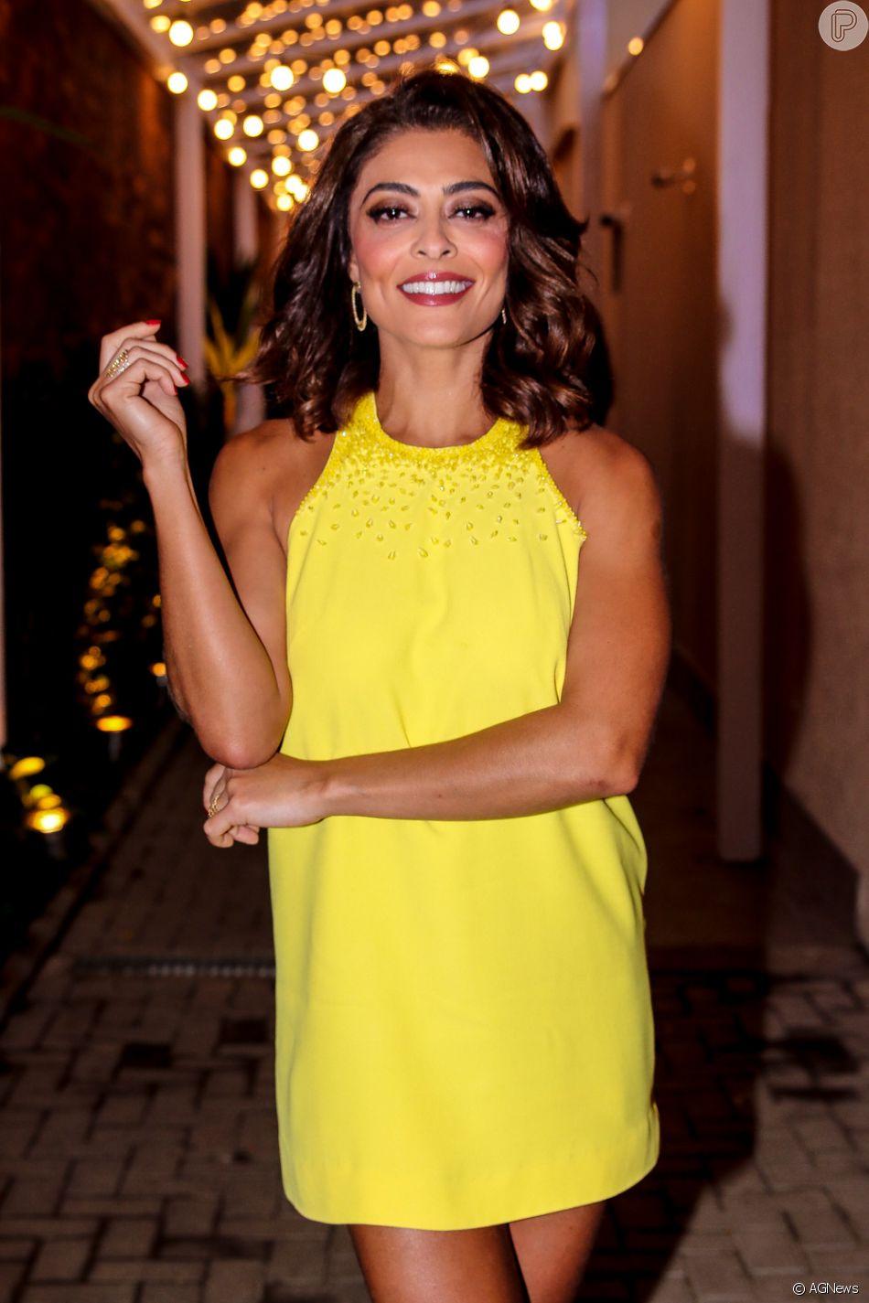 5bd4af756 Juliana Paes elege look amarelo para evento de beleza nesta quarta-feira,  dia 17
