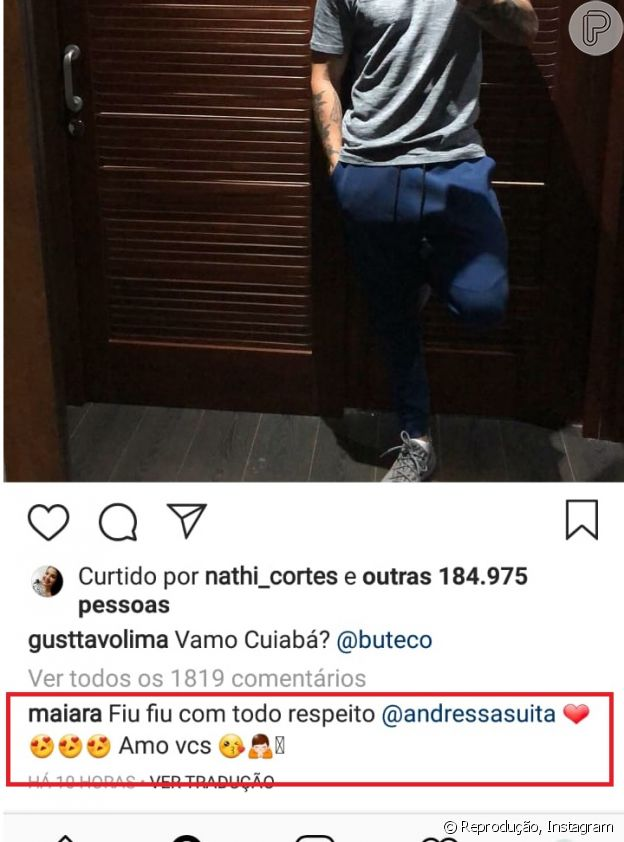 Maiara brinca em foto de Gusttavo Lima e menciona mulher de sertanejo