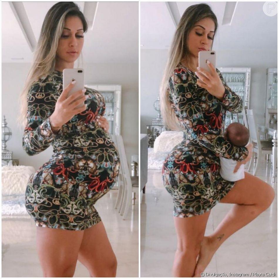 Mayra Cardi mostrou antes e depois da segunda segunda gravidez no Instagram neste sábado, 27 de outubro de 2018