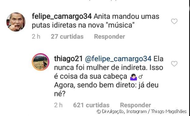 Thiago Magalhães defende Anitta após seguidor indicar indireta em nova música
