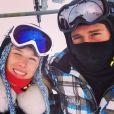 Fiorella Mattheis e Flávio Canto se divertiram na neve, na França, em março deste ano