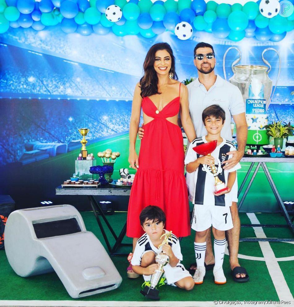 Juliana Paes comemora aniversário do filho Pedro com festa inspirada em time de futebol, realizada no domingo, dia 17 de dezembro de 2018